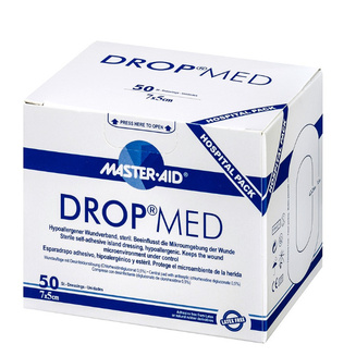 Drop Med clinical packaging with pack of 50