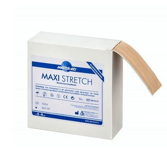 Clinical pack of Maxi stretch with a piece of the beige continuous dressing peeping out