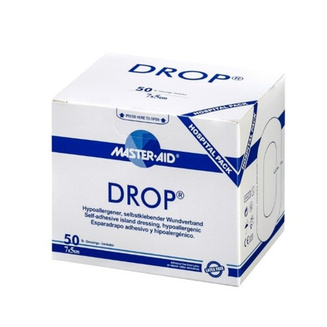 Drop clinical packaging with pack of 50, pack size 5cm x 7cm