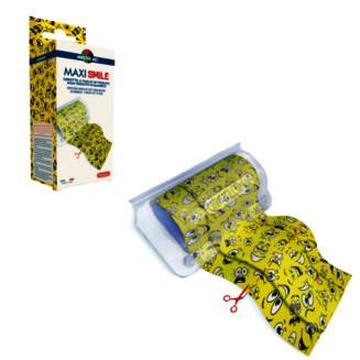 Pack and product image of Maxi Smile - continuous dressing that can be cut to size with yellow emoji design