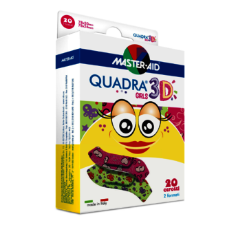 Image of pack QUADRA® 3D GIRLS plasters - with hearts and butterflies