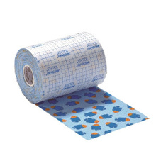 Rollflex Color, image of roll of nonwoven fabric dressing with brightly coloured fish design and white protective film